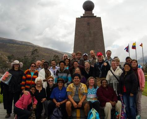 Christian Peacemaker Teams at their biennial retreat in Quito, Ecuador at the beginning of September.  We are straddling the purported divide of the Northern and Southern hemisphere.  I am on far left in the goofy hat.